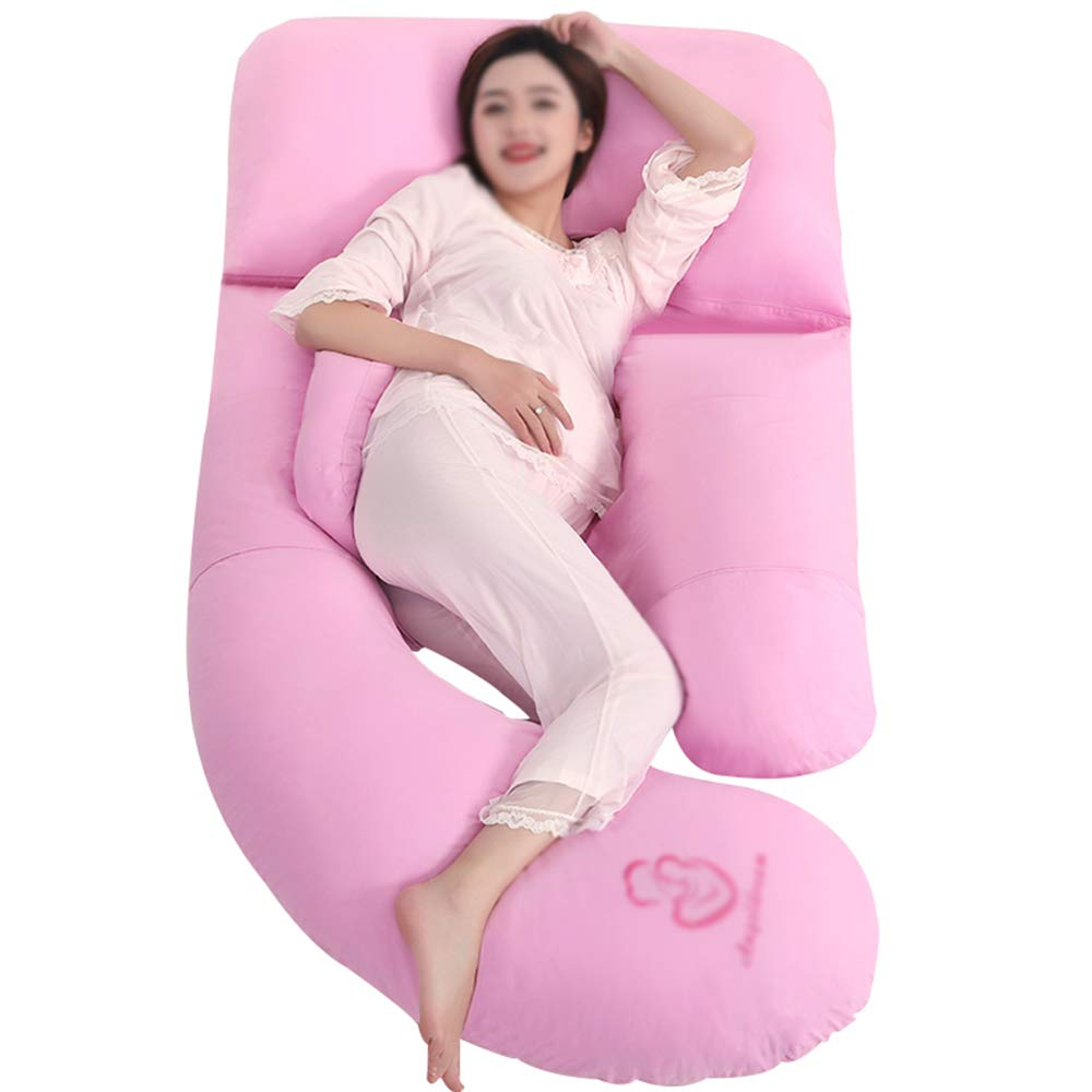 Pregnant woman pillow / Solid color side sleeping function U-shaped prop belly Lumbar pillow (Color : Blue) JU JU UK