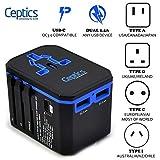International Power Adapter, Ceptics World Travel USB Type C QC 3.0 18W PD Plug Adaptor Kit - 3 USB Ports Wall Charger…