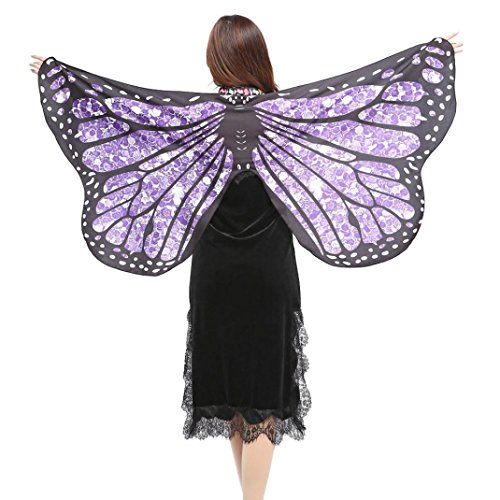 - Wensltd Clearance! Women Butterfly Wings Shawl Scarves Ladies Nymph Pixie Poncho Costume Accessory (Purple-1)
