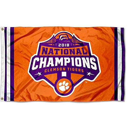 (College Flags and Banners Co. Clemson Tigers 2018 National Football Champions Flag)