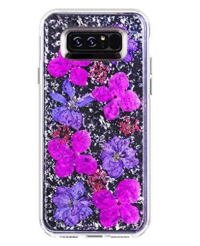 YXY·CF Note 8 Case - Karat Petals - Made with Real Flowers - Slim Protective Design, for Samsung Galaxy Note 8 Case (Purple Flower) ()