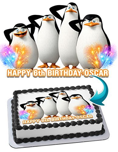 Madagascar Penguins Edible Cake Topper Personalized Birthday 1/4 Sheet Decoration Custom Sheet Party Birthday on Wafer Rice Paper - Cake Birthday Madagascar