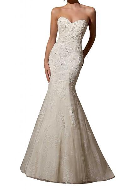 Gorgeous Novia Simple encanto encaje La Boda Vestidos de novia de sirena vestido de novia