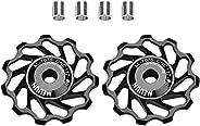 2pcs Guide Roller Idler, Ceramic Jockey Wheel Bearing Pulley Bicycle Tension Rear Derailleur for Road Mountain