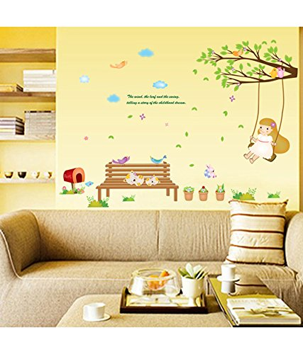 Decals Design Girl Swinging on Branch with Cute Cats Wall Sticker (PVC Vinyl, 70 cm x 50 cm)