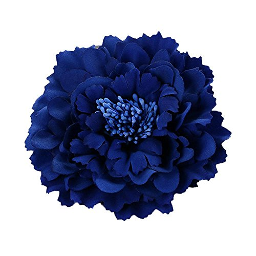 DZT1968 Women Girl 28 colors Flower Peony Hair Clips gorgeous Wedding Bridal Bridesmaid Prom Festival Hairpin Brooch (Sapphire blue)