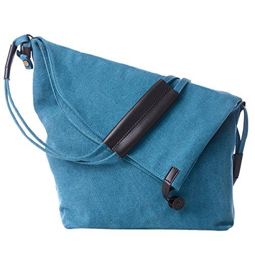Aivtalk - Bolso de Hombro Hecho de Tela Lona Bolsa Messenger Estilo Vintage con Gran Capacidad Callejero Bag para Mujeres Chicas, Caqui Azul