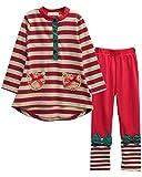 Waboats Winter Kids Girls Cartoon Printed Long Sleeve Top & Pant (4-5 Years, Stripe Red)