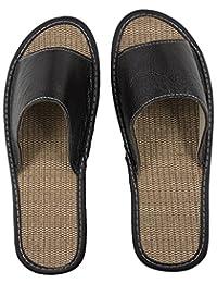 OSVINO Unisex Summer Linen Slippers Genuine Leather Open Toe House Hotel Shoes Indoor Outdoor Non-Slip