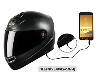 2a34563b Image Unavailable. Image not available for. Colour: Steelbird SBA-1 7Wings  HF Dashing Full Face Helmet with Smoke Visor and Detachable Handsfree