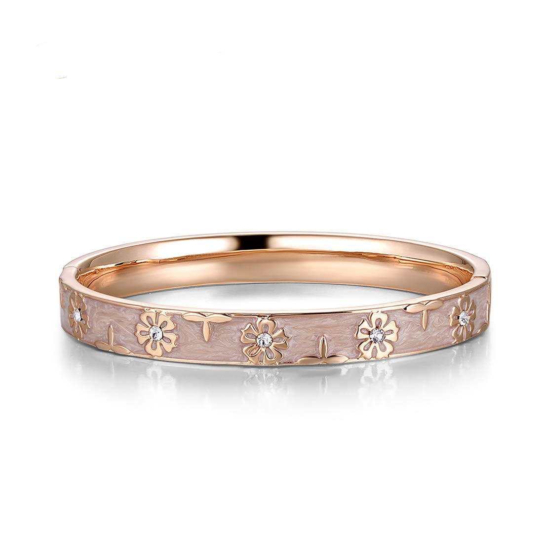Santuzza Rose Gold Plating Bangle Brass Enamel Flower Pattern Bracelet with Crystal Ideal Jewelry Gift for Women Girls (Pink)