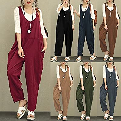 Romacci Women Cotton Linen Baggy Overalls Jumpsuits Vintage Sleeveless Wide Leg Pants Rompers: Clothing