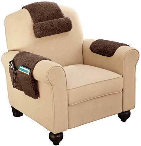 Sherpa fleece armchair cover set of 3 brown buy online for Armchair covers to buy