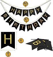 18.o kit de decoraciones de la fiesta de cumpleaños, Bandera del Feliz Cumpleaños, 18.ª Globos de Número de Oro, Globos de estrellas de látex, ...