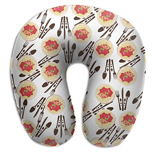 Airplane Pillows Travel Pillow, Breathable Memory Foam I Love Spaghetti Italian Pasta Spaghetti Dinner Neck Pillow, Head & Chin Support Cushion, Machine Washable With Removable Polyester Cover
