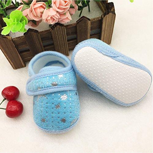 Zhhlinyuan Cute Bebé Infant Boys Girls Soft Anti-skid Toddler Shoes Crib Shoes Blue