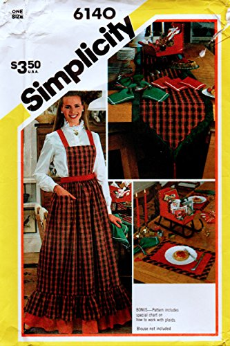 Simplicity 6140 Christmas Sewing Pattern Napkins, Table Runner, Place Mats, Apron and Sleigh Centerpiece