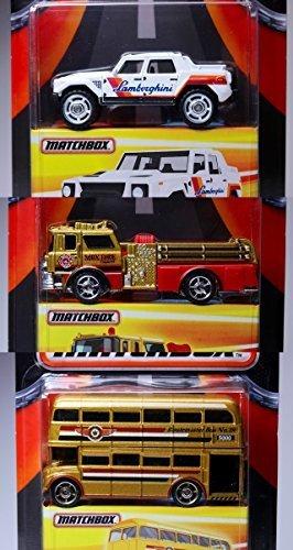 Best of Matchbox Collection Lamborghini - Fire Truck & Double Decker Bus SUPREME PK MBX 2016 Real Rubber Tires - '75 Mack CF Pumper - LM002 Ultra Max ()