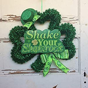 AGD St Patrick's Day Decor - Green Tinsel Shake You Shamrock Wreath 67