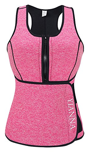 YIANNA Sweat Neoprene Sauna Suit - Waist Training Vest - Sauna Tank Top Vest with Adjustable Waist Trimmer/Shaper Trainer Belt for Weight Loss Plus Size up to 5XL, YA8012-New-Pink-5XL