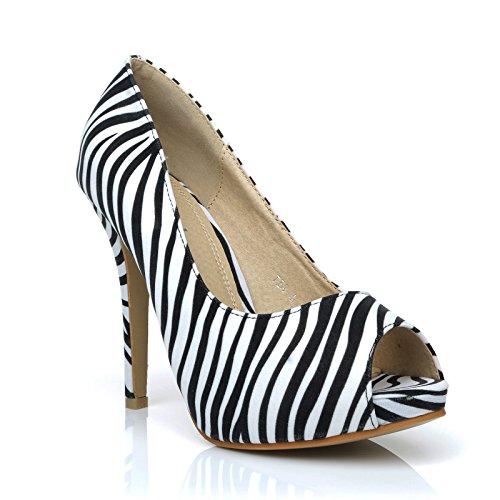 Plateausohle Absatz und weiße Schwarze mit hohem Schuhe TIA und Zebra Print Peeptoe I7Ptqxnz