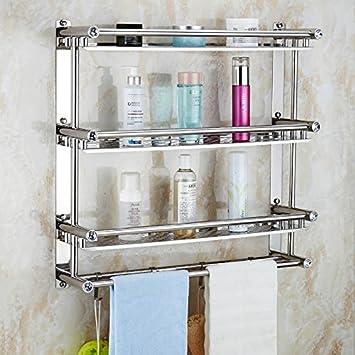 Baño toallero estantes el inodoro WC baño toallas para baño de acero inoxidable colgador de punch , 3 capa ,50cm: Amazon.es: Hogar