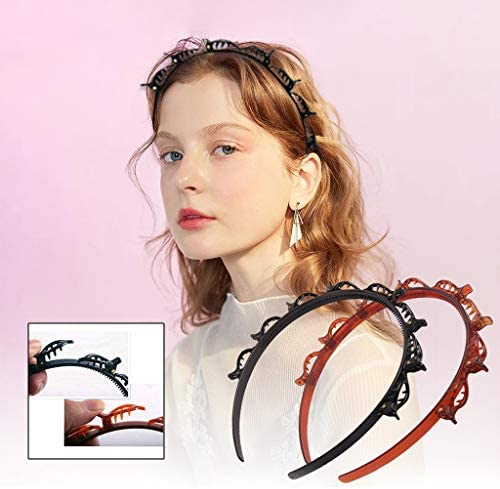 2 Pcs Double Bangs Hairstyle Hairpin Headband Professional Weave Bangs Clip,