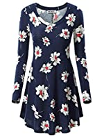 HUHOT Women's Floral Long Sleeve V Neck A Line Flared Tunic Top