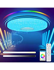 Led-plafondlamp, dimbaar, 36 W, led-plafondlamp met afstandsbediening, RGB, bluetooth-luidspreker, app-bediening, voor kinderkamer, slaapkamer, woonkamer, eetkamer, 3000-6800 K