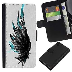 LECELL--Cuero de la tarjeta la carpeta del tirón Smartphone Slots Protección Holder For Sony Xperia Z3 D6603 -- Plumas azules --