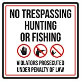 iCandy Products Inc No Trespassing Hunting Or Fishing Business Commercial Warning Square Sign - 12x12, Metal