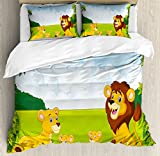 Nursery Queen Size Duvet Cover Set by Ambesonne, Cartoon Style Lion Family in the Forest Africa Savannah Safari Habitat, Decorative 3 Piece Bedding Set with 2 Pillow Shams, Green Pale Blue Yellow