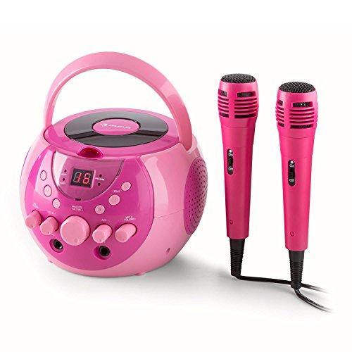 auna SingSing tragbare Karaoke-Anlage für Kinder Karaokemaschine Musik-System mit 2 Mikrofonen, LED-Lichteffekt, CD-Player (Tragegriff, Möglichkeit zum Netz- und Batteriebetrieb) pink