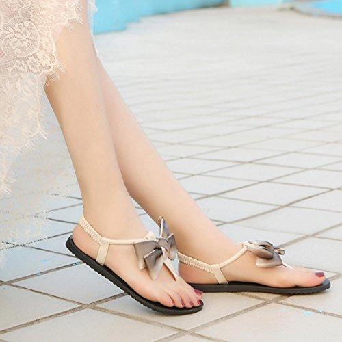 HLHN Women Sandals,Bohemia Roman Gladiator Bow Ankle Strap Flat Heel Flip Flops Open-Toe Shoes Casual Beach Lady Beige
