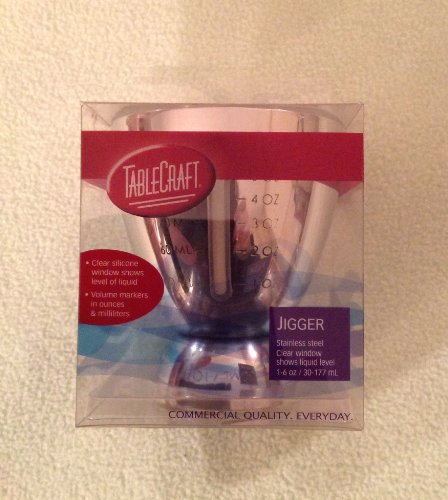 Tablecraft Stainless Steel Jigger with Clear Window Showing Liquid Level