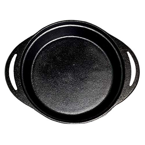Pie Pan - Pre-Seasoned Cast Iron 12 x 9.5 x 2 Inches By Old Mountain