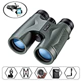 HUTACT Binoculars for Adults Birdwatching, 10x42 Compact BAK4 Roof Prism FMC Fully Multi Coated Lenses, Suitable for Hunting, with Tripod Connector and Smartphone Adapter etc