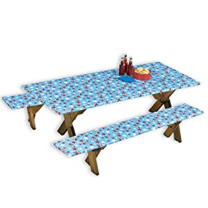 Collections Etc Americana Wipe-Clean 3pc. Picnic Table Covers for 4th of July Outdoor Party