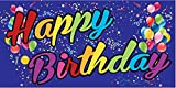 Pre-Printed Happy Birthday Banner - Rainbow - Blue (10' x 5')