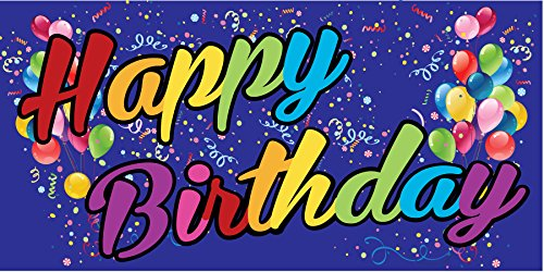 Pre-Printed Happy Birthday Banner - Rainbow - Blue (10' x 5') by Reliable Banner Sign Supply & Printing (Image #1)