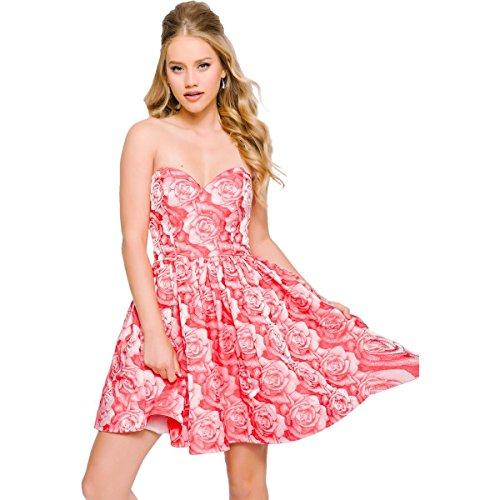 Jovani Rhinestone Strapless Semi-Formal Dress Pink 6