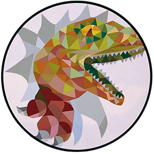 (Printing Round Rug,Reptiles,Multi Colored Mosaic Wild Trex Illustration Opens Mouth Jurassic Pixel Dinosaur Home Decor Mat Non-Slip Soft Entrance Mat Door Floor Rug Area Rug For Chair Living Room,Mult)