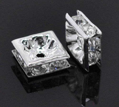 Housweety 30 SP Clear Rhinestone Square Spacer Beads 8x8mm