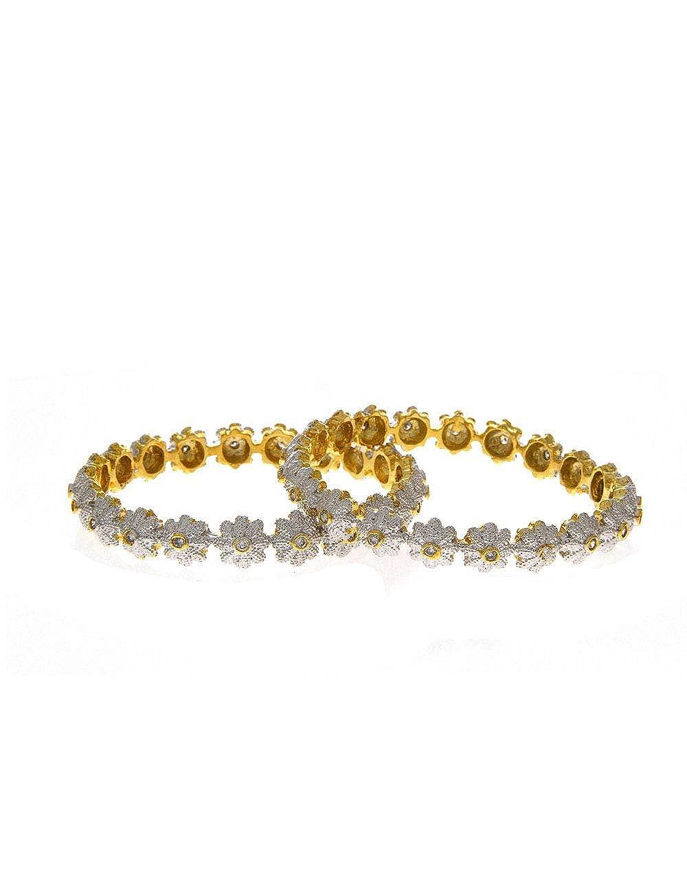 Anuradha Art Gold Finish Flower Desinge with American Daimond Bangle Set for Women//Gilrs