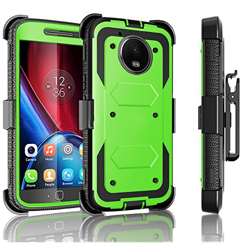 Moto G5 Plus Case / Moto G Plus (5th Gen 2017) Jwest Heavy Duty Full-Body Rugged Holster Armor Case & Belt Swivel Clip [ Kickstand ] WITHOUT Screen Protector for Motorola Moto G5 Plus - Green (Moto Mobile Boost G Cases)