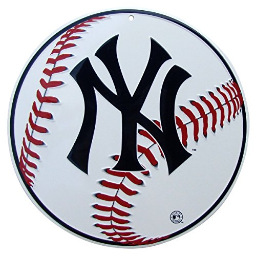 TG LLC NY Yankees Logo Round Baseball Metal Sign Man Cave Game Room Bar Pub Wall Decor ()