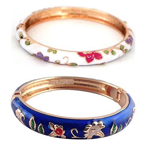 (UJOY Designer Womens Elegant Bangle Cloisonne Bracelets Gold Flower Enameled Jewelry for Birthday Gift 55A85-B20 Navy Blue-White)