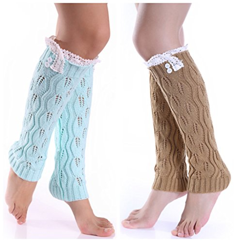 Big Leg Women (QandSweet Womens' Knitted Boot Leg Warmers Button Crochet Knee High Socks Keep Warm (Light Blue,Khaki))