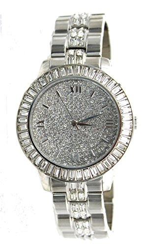 Men's Baguette Bezel Rhodium Plated Bling Bling Watch