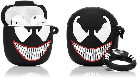 Imagen deLEWOTE Airpods Carcasa de Silicona Compatible con Airpods de Apple 1 y 2 [Diseño de Dibujos][Niñas o Parejas] (3D Venom)